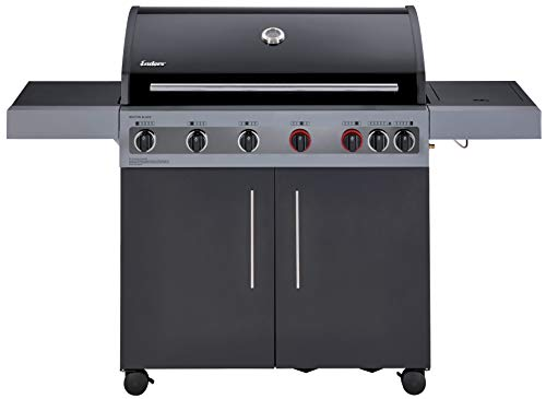 Enders® Gasgrill BOSTON BLACK 6 KR TURBO, 6-Brenner, mit Kocher, TURBO ZONE & HEAT RANGE Brenner-Technologien von Enders®, große Grillflächehochwertiges Edelstahl Rost #8864