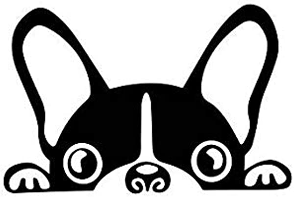 Kiskistonite Peeking Dog Vinyl Decal French Bulldog Frenchie Boston Terrier Dog Laptop Window Sticker Tumbler Decal Animal Lover Animal Rescue Decal For Wall Bedroom MacBook 3 Inches