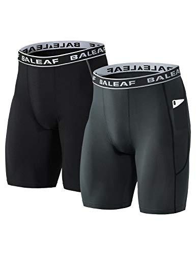 BALEAF Men's 9 inch Long Leg Boxer Briefs Performance Underwear Athletic Cool Dry 2 Pack Black/Grey L