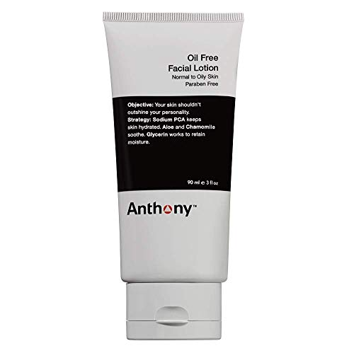 Anthony Oil Free Facial Lotion, 3 Fl Oz, Contains Sodium PCA, Aloe Vera, Chamomile, Glycerin, Hydrates, Soothes, Retains Moisture to Your Skin