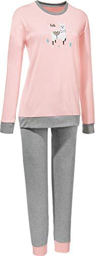 Erwin Müller Damen Schlafanzug, Pyjama, Zweiteiler, Nachtwäsche Single-Jersey, Lama, Alpaka rosa Größe 40, weich und anschmiegsam, mit Komfortgummibund