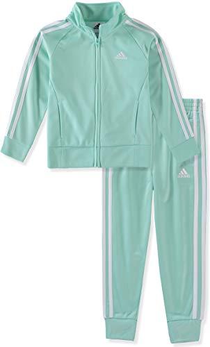 adidas girls Tricot Jacket & Jogger Active Clothing Set (4T, Mint)