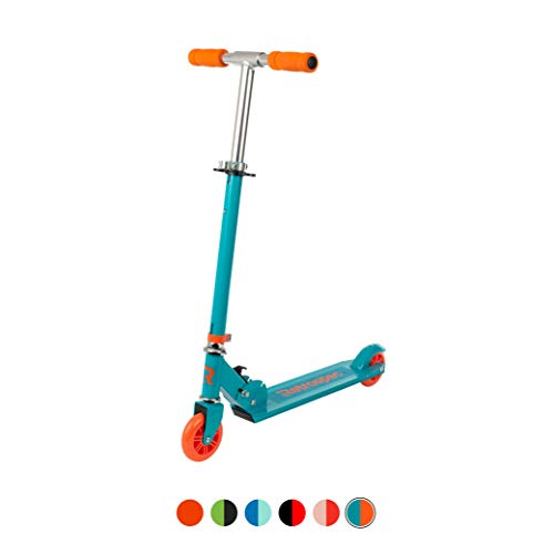 Retrospec Ripper200 2Wheel Kick Scooter for Kids Girls and Boys with Padded Handlebars PU Wheels and Grippy Deck Perfect for Children Teal/Orange