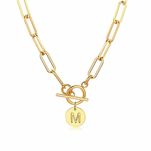AYJMA Elegantes Collares de Monedas Iniciales para Mujer, Colgante de 26 Letras del Alfabeto de Acero Inoxidable con Cierre de Palanca, Talla única M