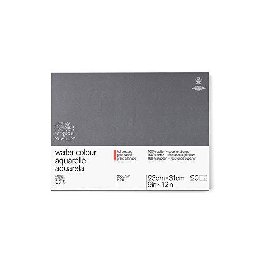 Winsor & Newton 6663267 Professional Watercolor Paper Block, Hot Pressed 140lb, 9'x12', White