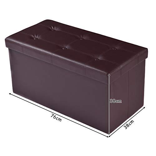 COSTWAY Sitzbank Sitzhocker Sitzbox Aufbewahrungsbox, Sitzwürfel Hocker, Polsterhocker faltbar, Truhe Bank, Sitztruhe PVC-Leder 76 x 38 x 38cm, Sitzkasten Farbwahl (Braun) - 2