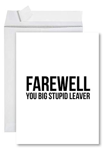 Andaz Press Funny Jumbo Farewell Card With Envelope 8.5 x 11 inch, Funny Office Card, You Big Stupid Leaver 1-Pack, Includes Envelope