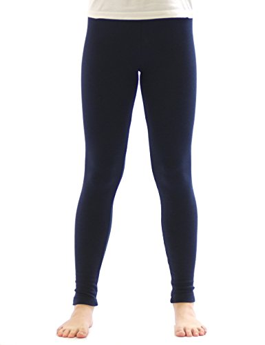 yeset Kinder Thermo Mädchen Leggings Fleece Hose lang Leggins aus Baumwolle dunkelblau 134