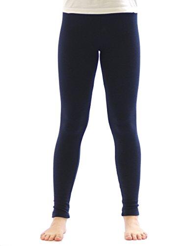 yeset Kinder Mädchen Thermo Leggings Fleece Hose lang Leggins aus Baumwolle dunkelblau 134