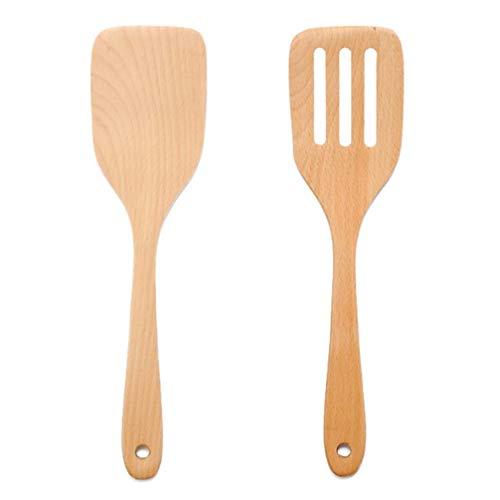 Cabilock 2 Pcs Bamboo Spatular Stora Trä Wok Turners Nonstick Träskeskedar Värmebeständiga Flipper Kök Redskap Se T För Matlagning Pancake Fiskägg