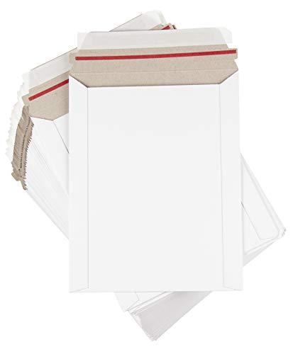 Rigid Mailers - 100-Pack Stay Flat Photo Document Mailers, Self-Seal Paperboard Envelope Mailers for Photos, Pictures, Papers, No Bend, White, 7 x 9 inches