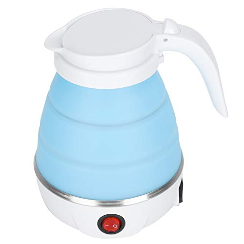 Zerodis 600W Portable Silicone Folding Household Electric Kettle Teakettle Premium 1500W Electric Kettle with Speed Boil Tech 600ml LED Light Auto Shut-Off and Boil-Dry Protection(Azul)