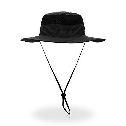 QingFang Wide Brim Sun Hat Mesh Bucket Hat Lightweight Bonnie Hat Perfect for Outdoor Activities Black