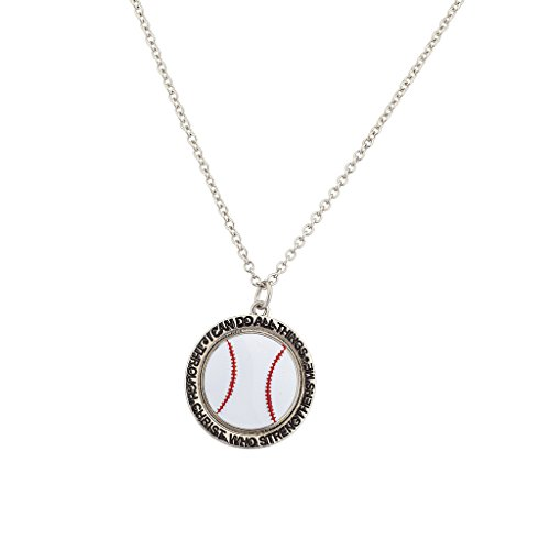 Lux Accessories Baseball I Can Do All Things Through Jesus Christus Who Strengthens Me Sport Halskette