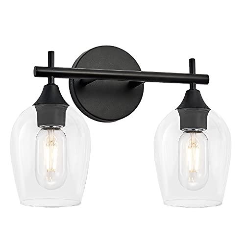 DUJAHMLAND 2-Light Bathroom Vanity Light fixtures,Industrial Black Metal Wall Sconce with Wine Glass Shade.Modern Wall Mount Lamp for Bedroom,Living Room,Hallway. (Black, 2-Light)