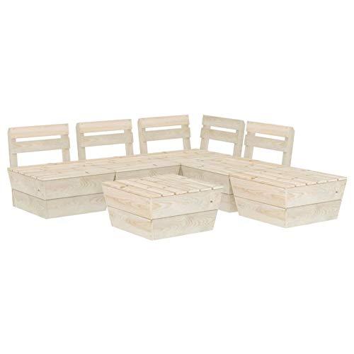 Tidyard Muebles de palets para jardín Sofá de palés para jardín 7# 6 pzas Madera de Abeto impregnada