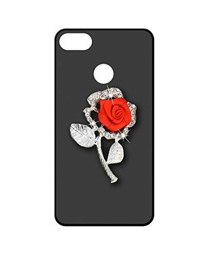 Sunrive Kompatibel mit ZTE Nubia Z18 Hülle Silikon,Glitzer Diamant Strass Handyhülle matt Schutzhülle Etui 3D Hülle Backcover (Rote Rose) MEHRWEG+Gratis Universal Eingabestift