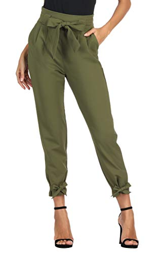GRACE KARIN Women Cargo Pant Belted High Waist Bowknot Trousers with Pockets L Army Green