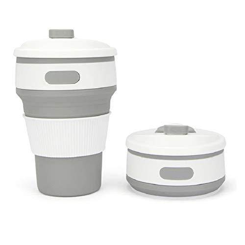 RAITL Taza de café Plegable Taza de Silicona Plegable Taza de Agua Plegable BPA de la Taza de té de la Taza de té de la Taza de té (Color : Light Grey)