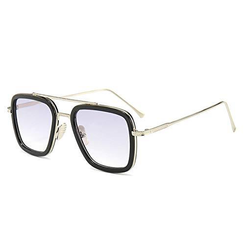 Gafas de sol europeas y americanas de los hombres de tendencia gafas de moda caja cuadrada gafas de sol-Golden box_Black Circle