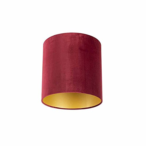 QAZQA Classique/Antique Coton Abat-jour en velours rouge 25/25/25 avec intérieur doré, Rond/Cylindrique Abat-jour Suspendu,Abat-jour Lampadaire