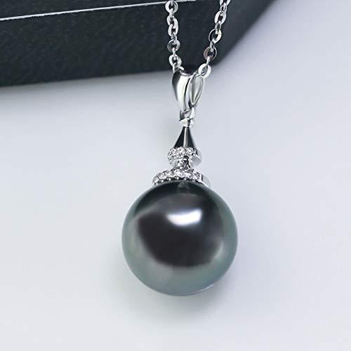 Nero Perla Ciondolo Collana per Donne in Oro Bianco 18 carati, Classico Diamante Nero Perla di Tahiti Ciondolo con Catena in Oro 18 carati