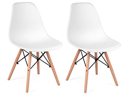 Sofotel Moderner skandinavischer Stuhl Wohnzimmerstuhl Esszimmerstuhl Delta weiß (2)