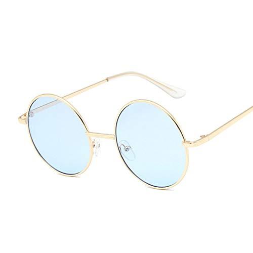 NJJX Gafas De Sol Redondas De Color Jalea A La Moda Para Mujer, Gafas De Sol Para Mujer, Círculo Vintage, Espejo De Metal Para Mujer, Azul Dorado