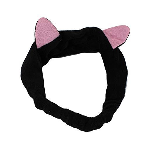 Lady's ear tool elastic hair headband party makeup party headband accessories face wash headdress cute cat headdress,Black