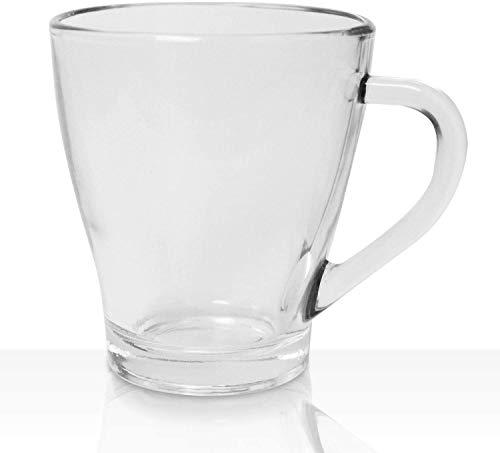 Vikko 9oz Glas Kaffeetassen - dick und langlebig für Kaffee, Tee, Cidre etc. Ideal geschichtete Getränke Mikrowellen- spülmaschinenfest 6er Set Klarglas Becher 8,4 cm Durchmesser x 9,9 hoch