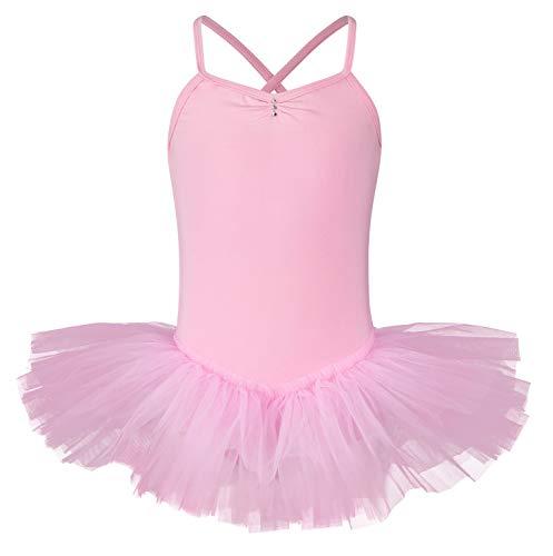 tanzmuster ® Ballettkleid Mädchen Tutu - Kim- aus weichem Baumwollstoff mit Glitzersteinen Ballett Trikot Ballettanzug in rosa, Größe 128/134
