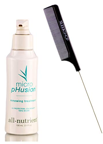 All-Nutrient Micro pHusion Renewing Treatment, Keratin Amino Acid Proteins (w/ Sleek Comb) Microfusion Hair Fusion, UV+ Color Protection, 100% Vegan (3.4 ounce size)