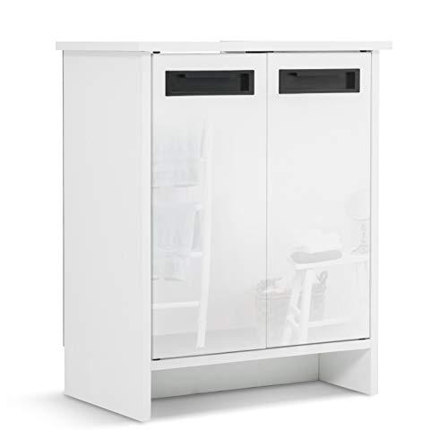 Mondeer Waschbeckenunterschrank Unterschrank 2 Türen MDF(E1) Badezimmer Weiß, 48 x 30 x 60 (L x B x H)