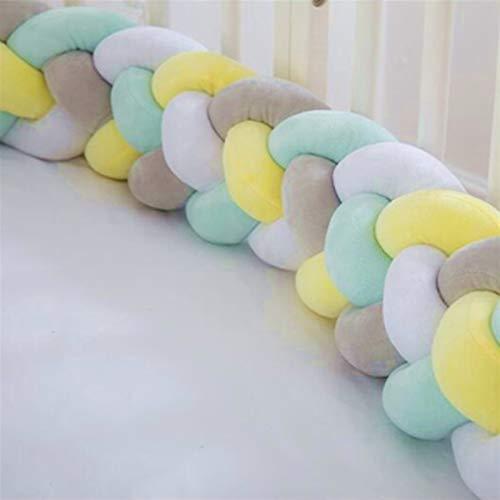 XCHJY 1PC 1 M / 2,2 M/Cama 3M / 4M niños Parachoques Larga Trenza Anudada 4 Almohada Parachoques Nudo niños decoración de la habitación Confortable Protector (Color : Plum)