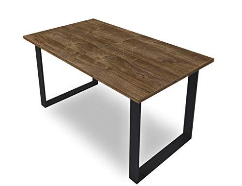 Art Ausziehtisch 150-198 cm Wohnzimmertisch Tisch ausziehbarer Esstisch modern elegant Sofatisch Wohnzimmer Eiche Metallrahmen in Schwarz (Eiche Stirling)