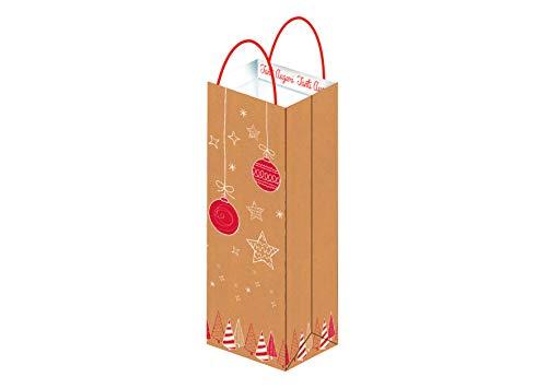 PARTY STORE WEB BY CASA DOLCE CASA 10 Buste Natalizie Rosse di Carta PORTABOTTIGLIE,Vino,Champagne per Regali Natale Shopper Natale con Manico (10 Buste 13x8.6x39 H)