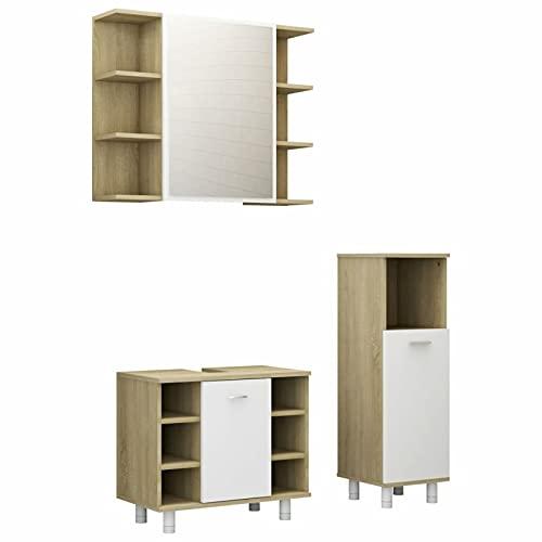 Gawany Set de Muebles de Baño 3 Pzas Juego de Muebles de Cuarto de Baño 3 Pzas Aglomerado Blanco y Roble Sonoma 80 x 20,5 x 64 cm