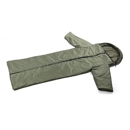 Mantel Tragbar Schlafsack Ultraleicht Klein Warm Premium Schlafsack Hochentwickeltes Wärmeregulierungssystem Unterseite Wasserabweisend Schlafsack Kompressionspacksack Ideal für Camping Armee grün