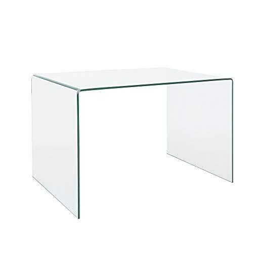 EGLEMTEK Scrivania Scrittoio da Ufficio in Vetro Temperato Curvato - Luxury Z-09 - (120 x 74 x 70 cm) Design Curvo e Moderno