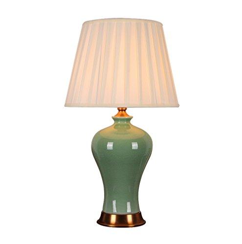 Yxsd Tafellamp, vintage, glas, modern, groen, creatief, vaas, keramiek, koper, stof, schaduw, tafellamp voor studie, woonkamer, nachtkastje, decoratieve bureaulamp