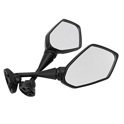 Qiilu Espejo retrovisor para motocicleta, par de espejos retrovisores para motocicleta, reemplazo de visibilidad negra para CBR F4 Racing
