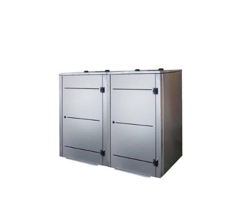 Mülltonnenbox Edelstahl, Modell Eleganza Line3, 120 Liter als Zweierbox