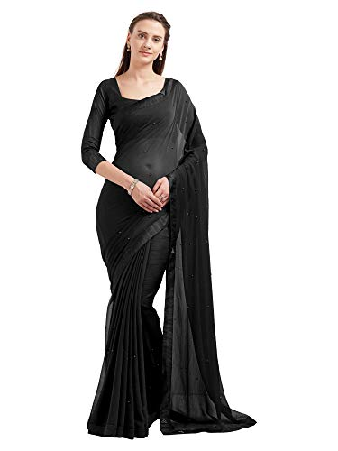 Sourbh Women's Marble Chiffon Saree (5686_Black), Black, Size One Size