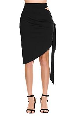 Zeagoo Women Fashion Solid Zipper Side Tie Asymmetric Hole Skirt