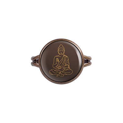 Mylery Ring mit Motiv Meditieren Yoga Buddhismus Buddha Sitzt Bronze 14mm