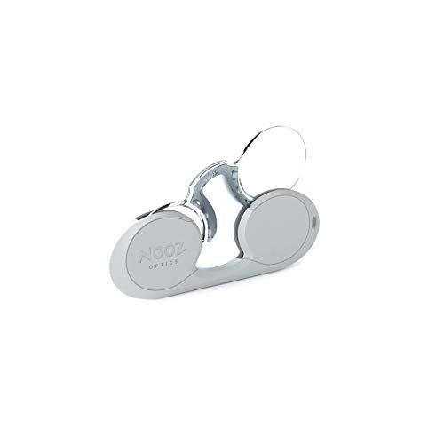 Nooz - Bügellose Lesebrille Unisex - Silber +1 Oval - Immer griffbereit