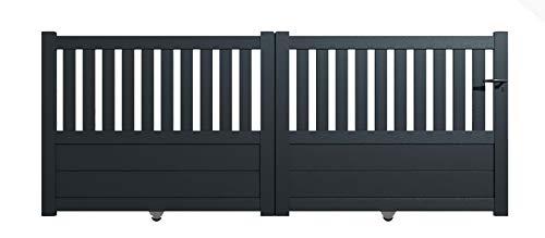 Packit - Portail aluminium coulissant semi-ajouré en kit dimension L.4000 (entre piliers) X H.1300 mm couleurs Gris (RAL 7016)
