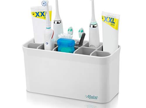 La Maeva   Zahnbürstenhalter Elektrische Zahnbürste   Smart Caddy XL   Vielseitiger Badezimmer Organizer mit 13 Fächern für EIN aufgeräumtes & hygienisches Waschbecken (Weiss / Grau)…