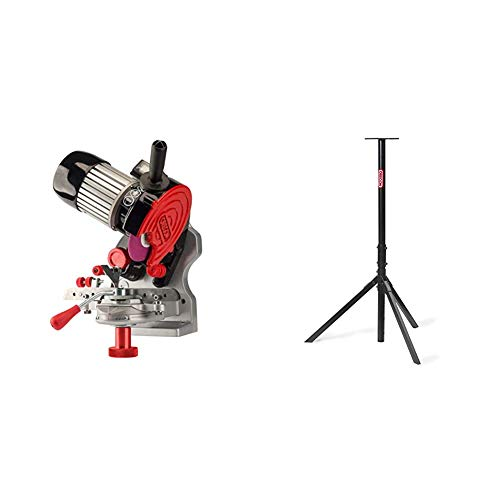 Oregon 410-120 Bench or Wall Mounted Saw Chain Grinder,red & 554532 Tripod Bench Chainsaw Chain Grinder Stand