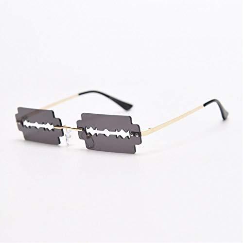 ZZOW Gafas De Sol Rectangulares Sin Montura Retro para Mujer, Gafas De Sol De Moda para Hombre, Gafas De Sol Vintage, Únicas, Huecas, Azules Y Amarillas
